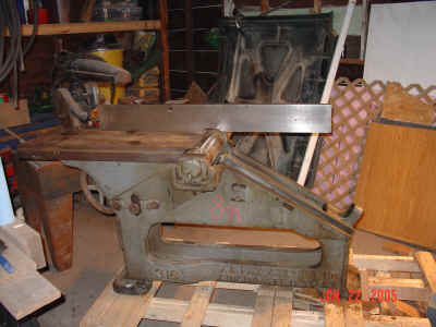 View of jointer with infeed sled removed.